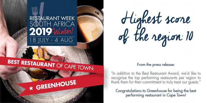 style populaire prix officiel matériau sélectionné Greenhouse Best Restaurant Cape Town Award Restaurant Week ...