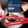 Greenhouse Restaurant, Greenhouse awarded Best Restaurant of Cape Town Award of the Restaurant Week Winter 2019