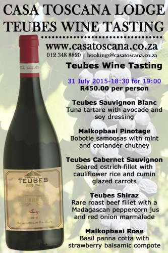 Tuebes food and Wine pairing