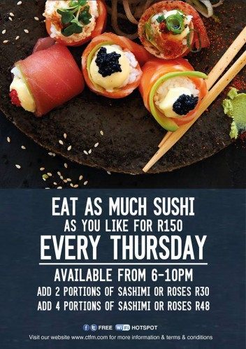Eat as much Sushi as you like for R150