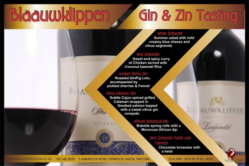 Blaauklippen Gin and Zin Tasting with Entertainment