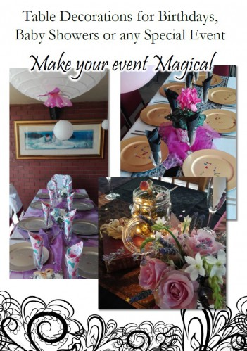 Birthday, Baby Shower, Kitchen Tea,Stork Party, Wedding.. Whatever the event we can decorate your tables