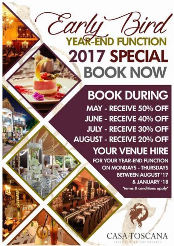 Early Bird Year-End Function Special 2017