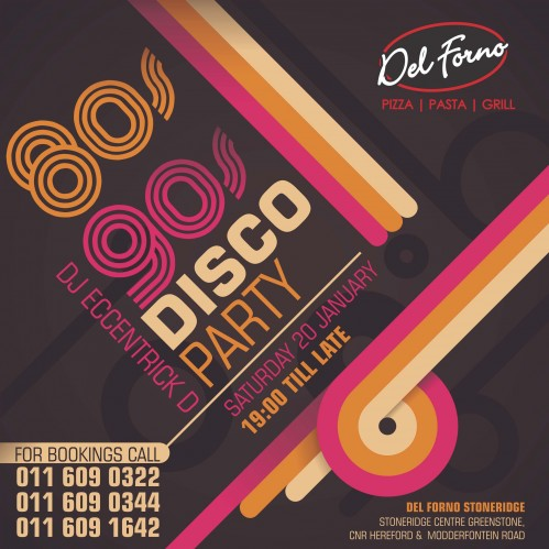 80's and 90's Disco Party - Saturday 20 January