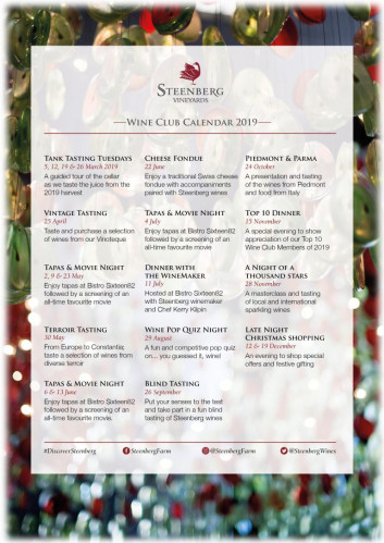 Steenberg Wine Club 2019 Event Calendar