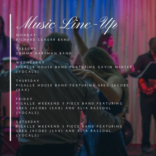 Weekly Music Lineup - Dine and Dance