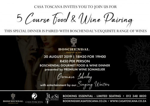 Boschendal 5 Course Wine Tasting Dinner - 30 August