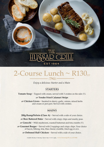 2-Course Lunch R130