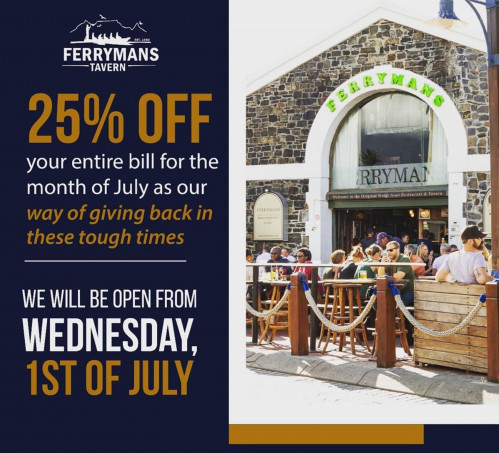 25% Off Your Entire Bill for the Month of July at Ferryman's Tavern