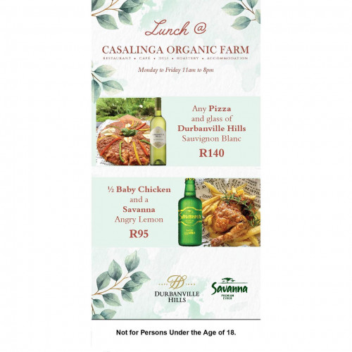 Lunch Specials at Casalinga Organic Farm in Muldersdrift