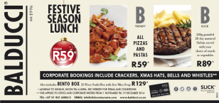 Festive Season Corporate functions from as little as R59 per head!