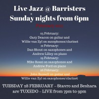 Live Jazz every Sunday Night from 6pm