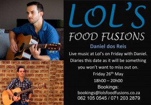 Live Music with Daniel dos Reis - Friday 26 May